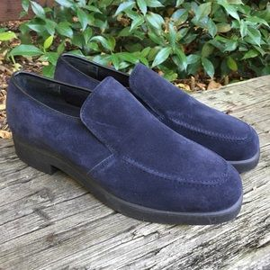 Hush puppies navy blue suede loafers size 8W